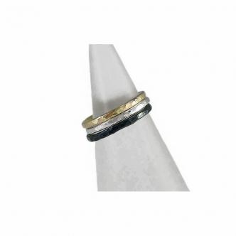 Gold Silber Schwarz Sterling Feinsilber Ring Set Handgefertigt Handgearbeitet Echtschmuck