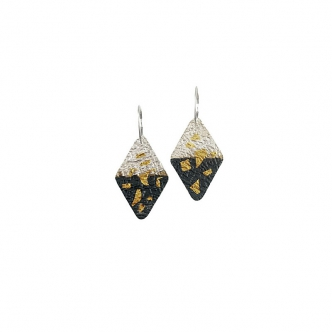 Fine Silver Sterling Gold Keum Boo Oxidised Handmade Metal Clay Earrings