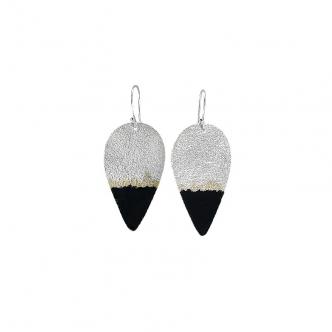 Sterling Fine Silver Drop Earrings Resin Black 999 925 Handmade Statement
