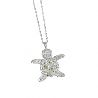Silver Fine Sterling Gold Turtle Pendant Necklace 999 925 Handmade