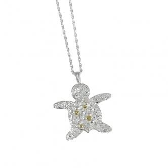 Massiv Silber Feinsilber Sterling Schildkröte Tier Anhänger Kette 999 925 Gold Handgefertigt Geschmiedet