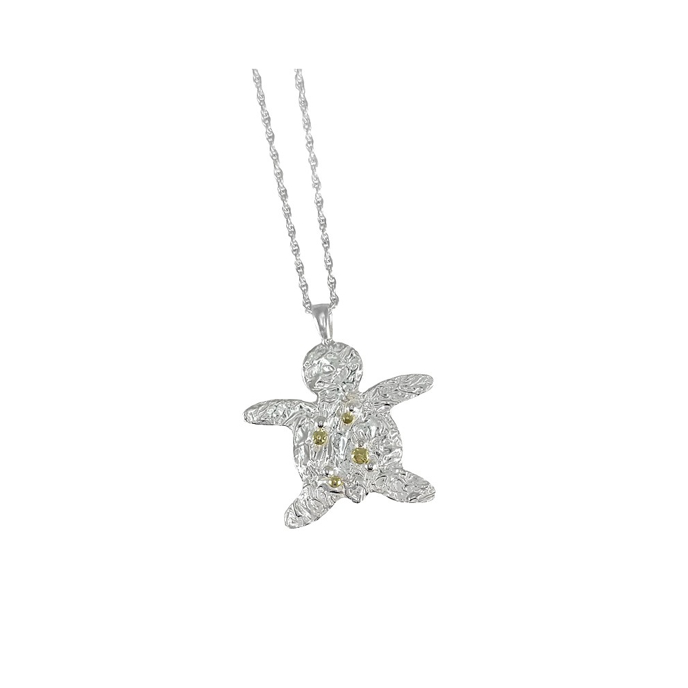Big feinsilber turtle and gold pendant necklace silver fine sterling gold turtle pendant necklace 999 925 handmade aloadofball Choice Image
