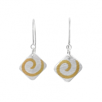 Silver Sterling Fine Earrings Gold Yellow Handmade Metal Clay Keum Boo