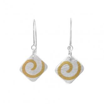 Silver Sterling Fine Earrings Gold Yellow Handmade Metal Clay Keum Boo