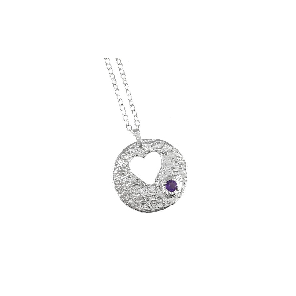6833813145262 Heart and Amethyst Necklace