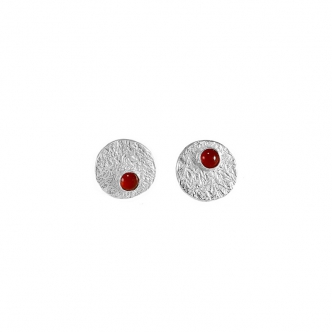 Silver Stud Earrings Gemstone Carnelian Handmade