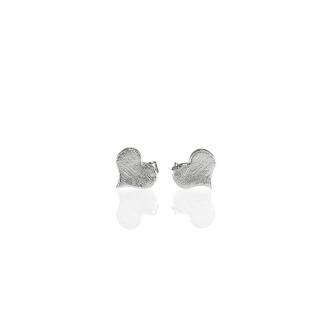 Ohrstecker Ohrringe Sterling Silber 950 Herz Herzchen Metal Clay Handgearbeitet Geschmiedet Handgefertigt