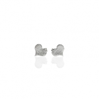 Earrings Silver Heart Studs Handmade 950 Metal Clay