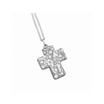 Cross Sterling Silver Pendant Chain Handmade Metal Clay