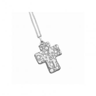 Sterling Silber Kreuz Handgeschmiedet Handgefertigt Metal Clay Anhänger Kette