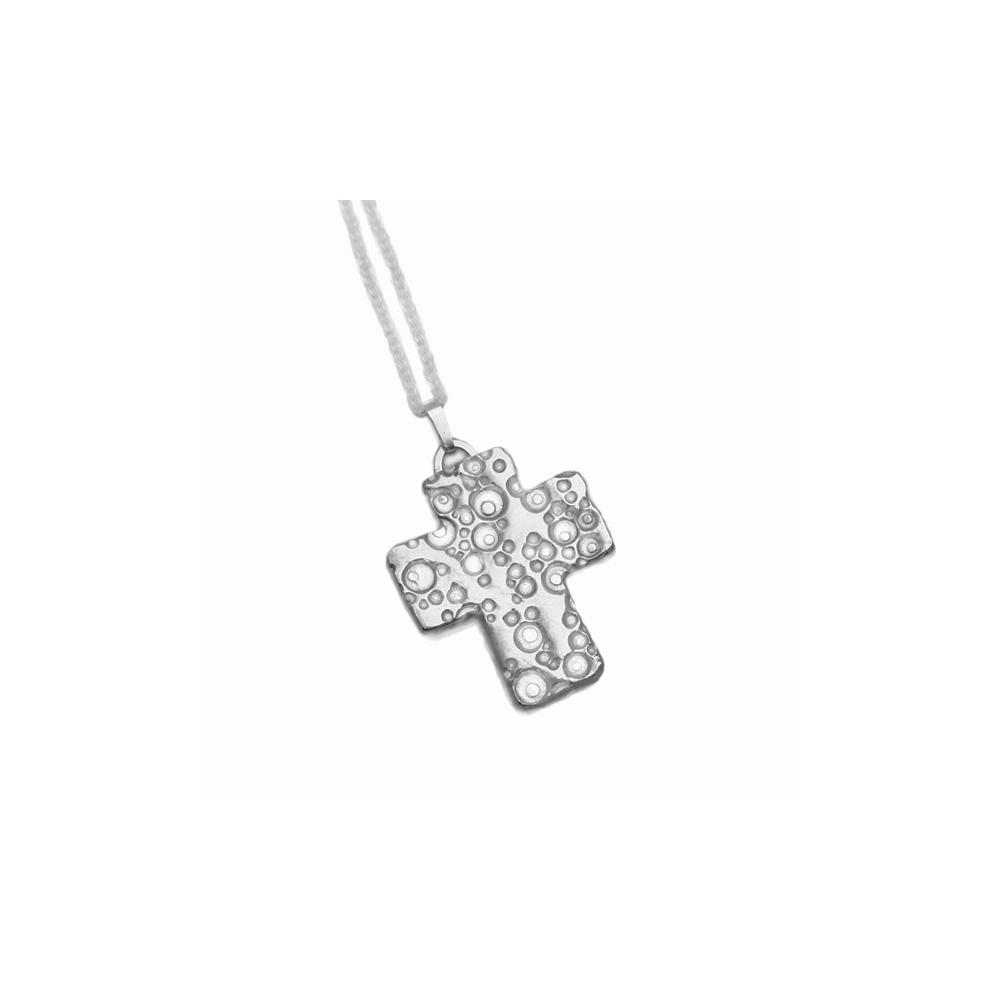 Cross Sterling Silver Pendant Chain Handmade Metal Clay