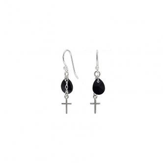 Sterling Silver Cross Black Drop Handmade Earrings