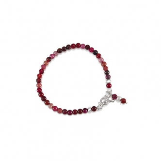 Red Agate Gemstone Bracelet Sterling Silver