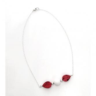 Handgefertigt Magnesit Edelstein Jade Sterling Silber Kette Rot Weiss